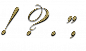 Image of several punctuation marks in a fancy gold font