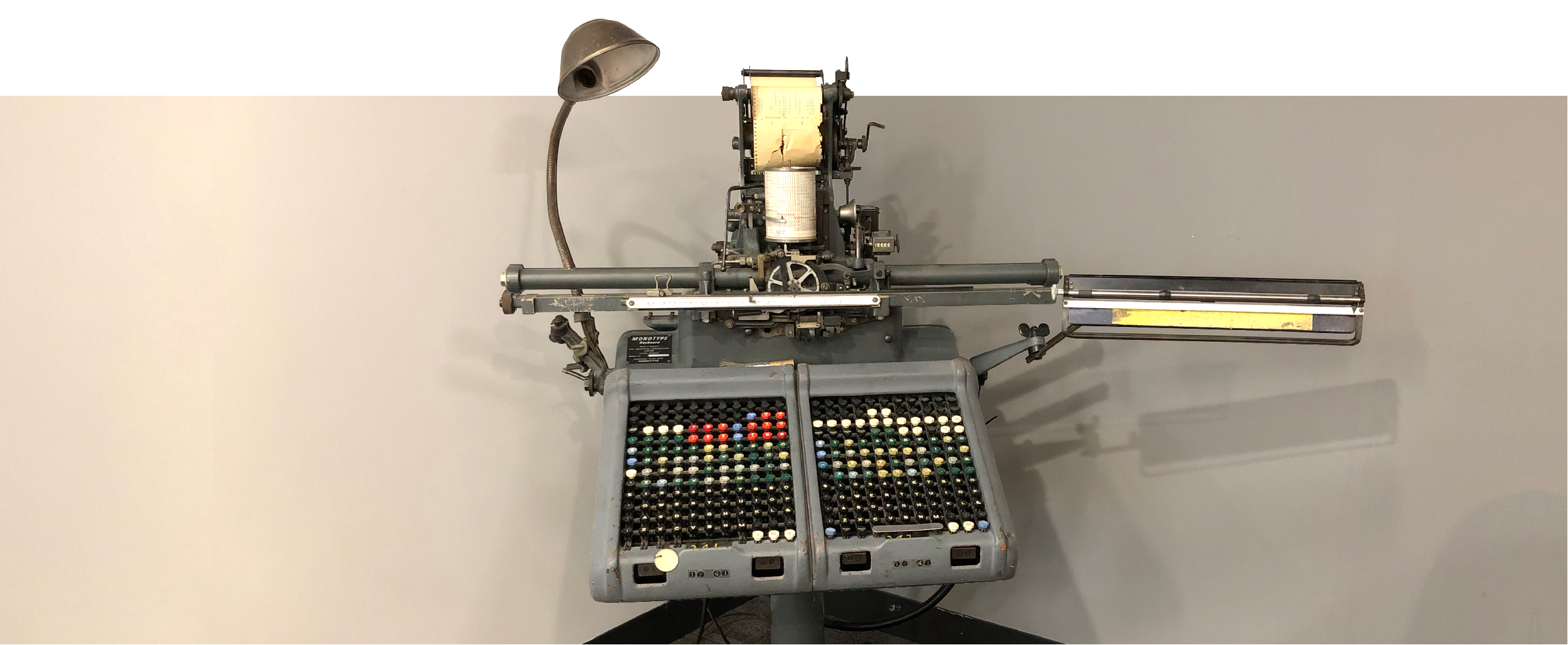 A Photo of the monotype machine in the Boston office