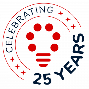 SRM anniversary logo: the light bulb logo with 'Celebrating 25 Years' encircling it