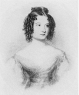 A black-and-white portrait of Ada Lovelace